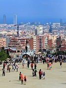 View of the city from the Park Guell, Barcelona, Catalonia, Spain