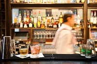 Mixed drinks sitting on bar