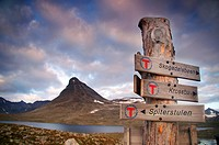 direction sign in the Jotunheimen National Park, Norway, Jotunheimen National Park