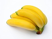 Bunch of ripe, fairtrade, organic bananas, on a white background.