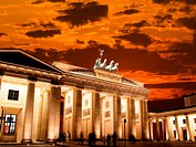 BRANDENBURG GATE at sunset in Berlin