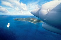 Plane above Union Island, Antilles