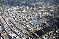 High level oblique aerial photography north_east of Central Station, River Clyde and Glasgow, Scotland G1, UK