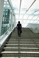 Businessman going up steps