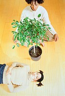 Woman lying next to ficus house plant on the floor, man meditating