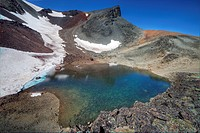 Alpine lake in the volcanic Itcha Mountains, British Columbia