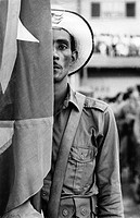 geography / travel, Cuba, people, men, ex_rebel standting behind flag, circa 1960,