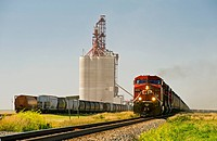 Train carrying grain rail hopper cars passes an inland grain terminal, Gull Lake, Saskatchewan