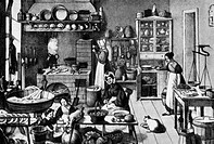 household, kitchen and kitchenware, kitchen in times of old Berlin, Germany, after contemporary lithograph by O. Wilke, circa 1839,