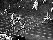 sports, Olympic Games 1936, Berlin, athletics, 100 Metres, finish, winner Jesse Owens USA, 2nd square Metcalfe USA, 3rd place Osendarp Netherlands, 4t...