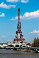 Eifel tower and railway bridge in Paris