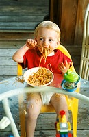 Baby Eating Noodles