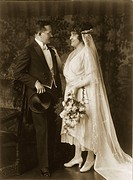 people, couples, wedding couple, full length, Munich, Germany, 1921,