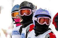 Young Girls in Ski Gear, Skyloft Ski Resort, Ontario