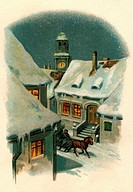 Christmas, snowy village, winter, Switzerland, circa 1907,