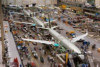 At the Boeing production facilities at Renton, Washington