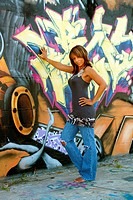 Beautiful Mature Black Woman with Graffiti 1