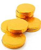 Chocolate gold coin stacks