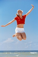Carefree Woman Jumping