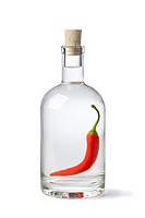 Bottle with chili pepper vinegar on white background