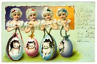 Easter, Happy Easter, postcard, cats in easter eggs, Germany, 1901,