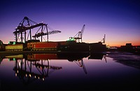 Port of Vancouver at dusk, Vancouver, British Columbia, Canada.