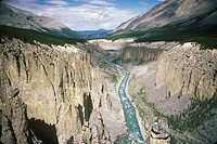 Aerial of Wokkpash Gorge in Stone Mountain Provincial Park, British Columbia, Canada.