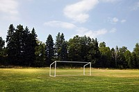 Soccer goal in a field