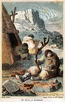 prehistory, people, prehistoric family in front of their tent, man making tools from reindeer horn, wood engraving, coloured, circa 1870,