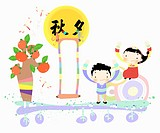 The image of kids wearing Korean traditional clothes for Chuseok