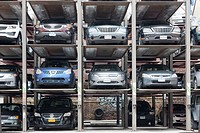 Vertical parking spaces in Manhattan, New York City, New York, USA