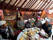 A traditional Kazakh feast inside a Kazakh yurt.