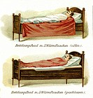 medicine, treatments, steam bath bed, patient lying in bed, Germany, circa 1900,