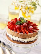 Chocolate sponge cake with summer fruit and filled with cream