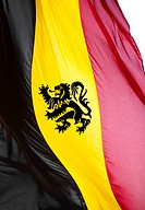 Belgian flag with a Flemish lion on a white background