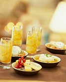 Small sweet and salty cheese dishes and grapes in Muscat jelly