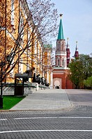 Historic cannon in front of a church at the Kremlin