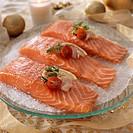 Slabs of raw salmon