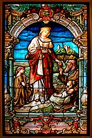 Stained glass window, Saint Elisabeth gives bread to the poor, Wartburg castle, Museum, Eisenach, Thuringia, Germany