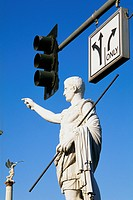 Traffic Light and Statue of Augustus Caesar