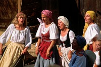 A group of women dressed as peasants sing as part of a Renaissance fair in Salon_de_Provence.