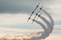 Canada Force´s Snowbirds jet team performs in Canadair CT_114 Tutor jet aircraft.