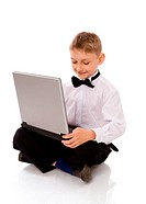 Boy holding laptop