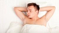 man in white bedding, series