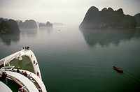 A sampan on Halong Bay in Vietnam, seen from the cruise ship Royal Viking Sun.