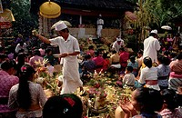 Balinese villagers crowd a feast at a Hindu volcano ceremony. The 26 Balinese villages closest to the Gunung Agung Volcano join in the Ngusaba festiva...