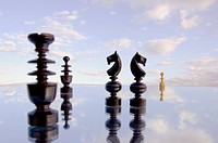 blur chessmans on mirror and sky background