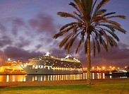 Cruise ship in Las Palmas on Gran Canaria, Canary Islands, Spain