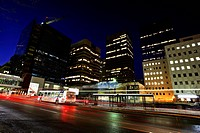 Downtown Calgary at night in Alberta Canada