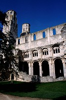 The 11th century Abbey of Jumieges stands in modest grounds, Jumieges, Normandy, France.